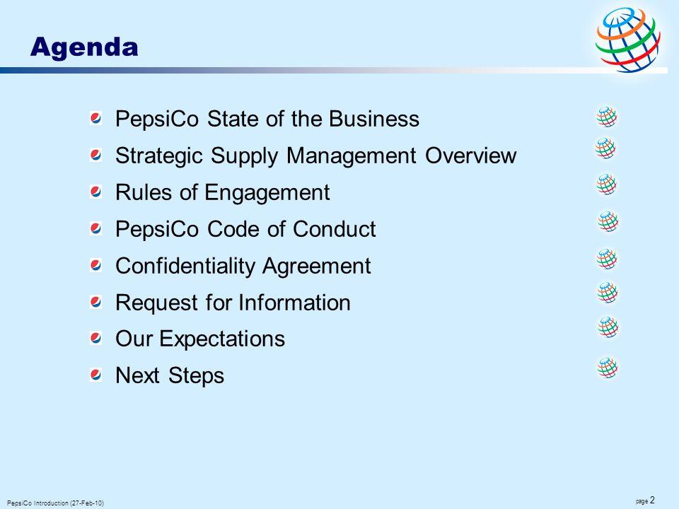 Agenda PepsiCo State of the Business