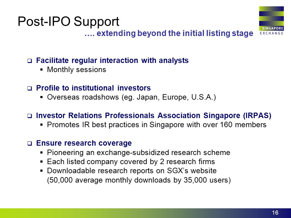 Post-IPO Support …. extending beyond the initial listing stage