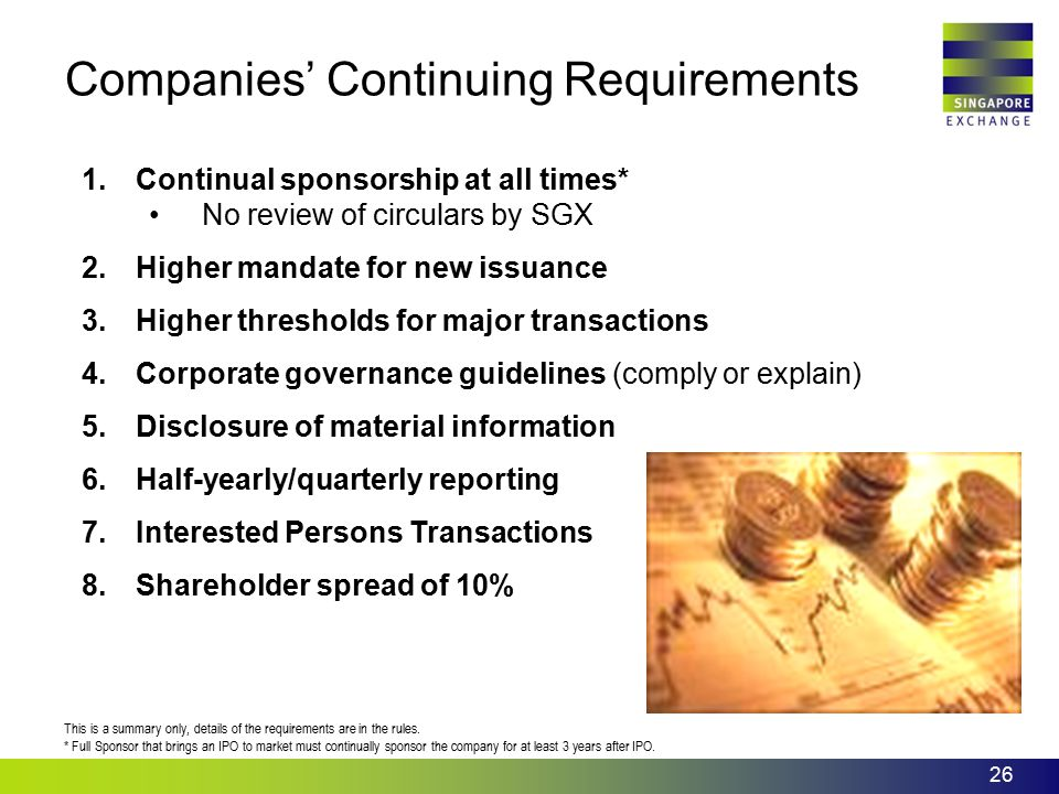 Companies' Continuing Requirements