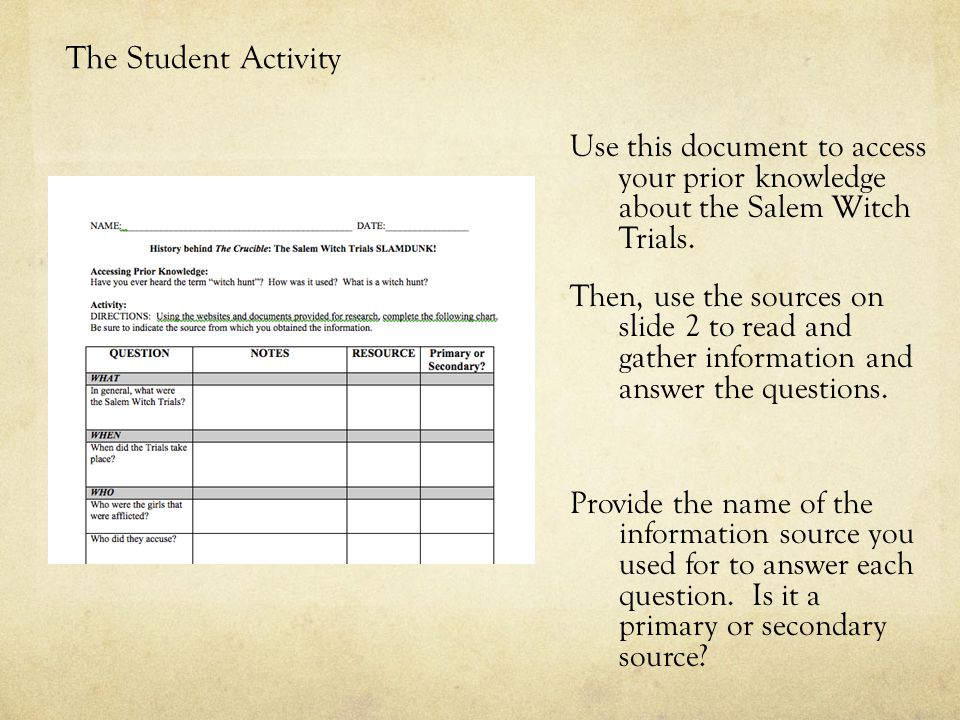 The Student Activity Use this document to access your prior knowledge about the Salem Witch Trials.