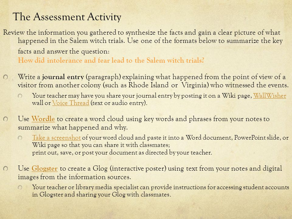 The Assessment Activity