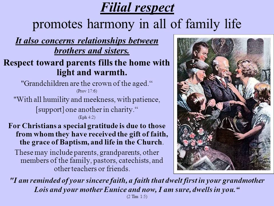 Filial respect promotes harmony in all of family life