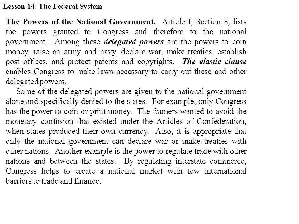 Lesson 14: The Federal System