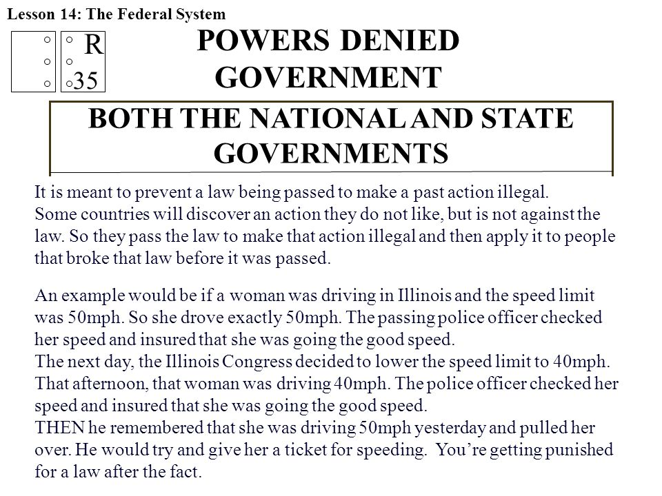 POWERS DENIED GOVERNMENT BOTH THE NATIONAL AND STATE GOVERNMENTS