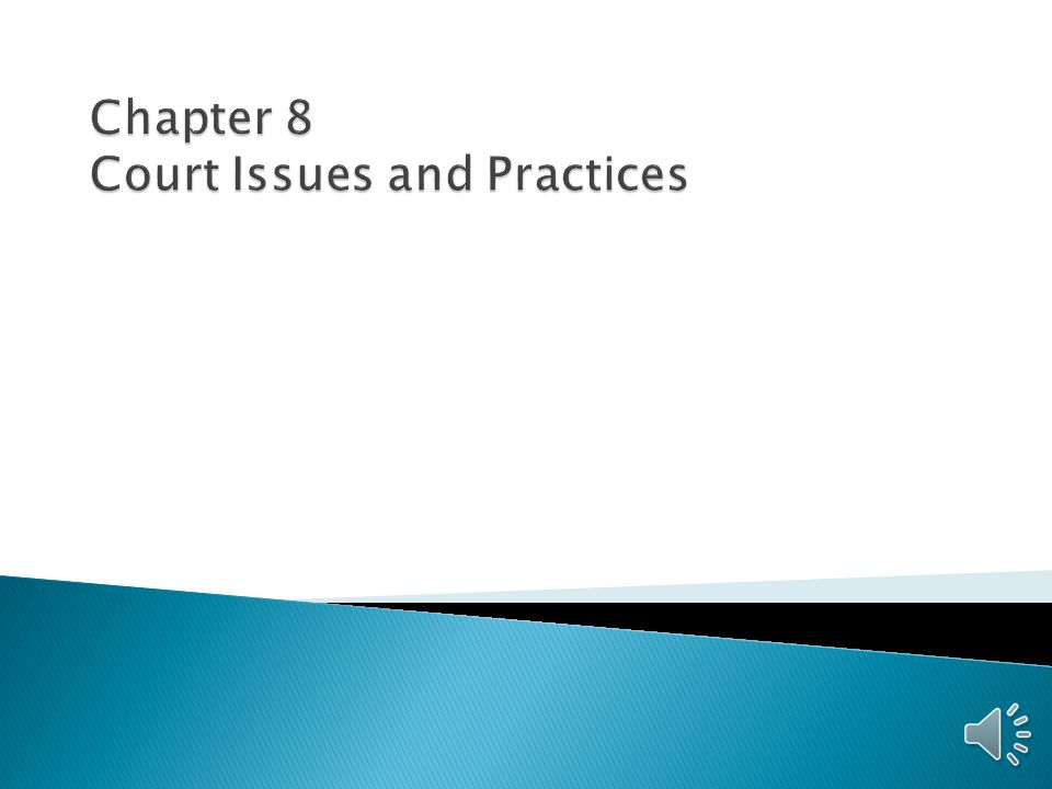 Chapter 8 Court Issues and Practices