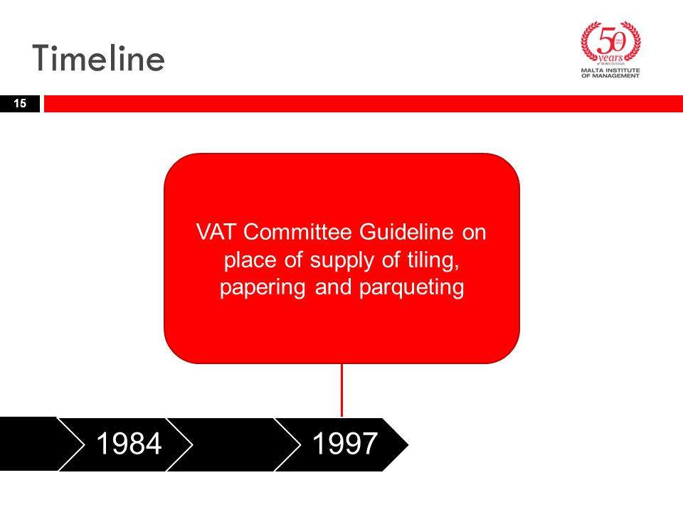 Timeline VAT Committee Guideline on place of supply of tiling, papering and parqueting. 1984. 1997.