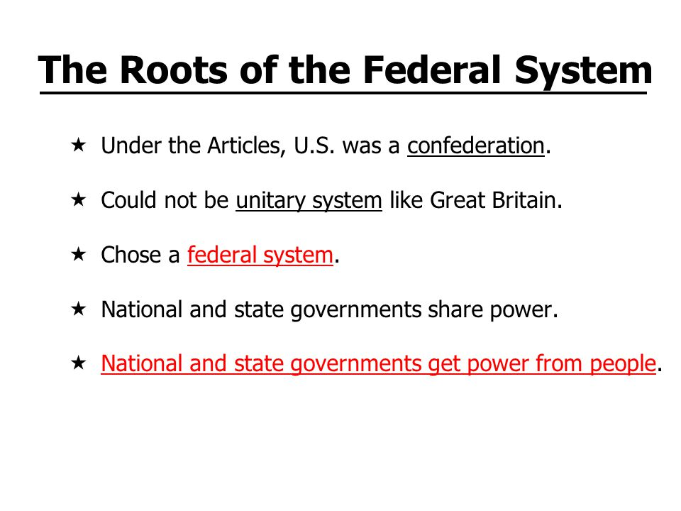 The Roots of the Federal System