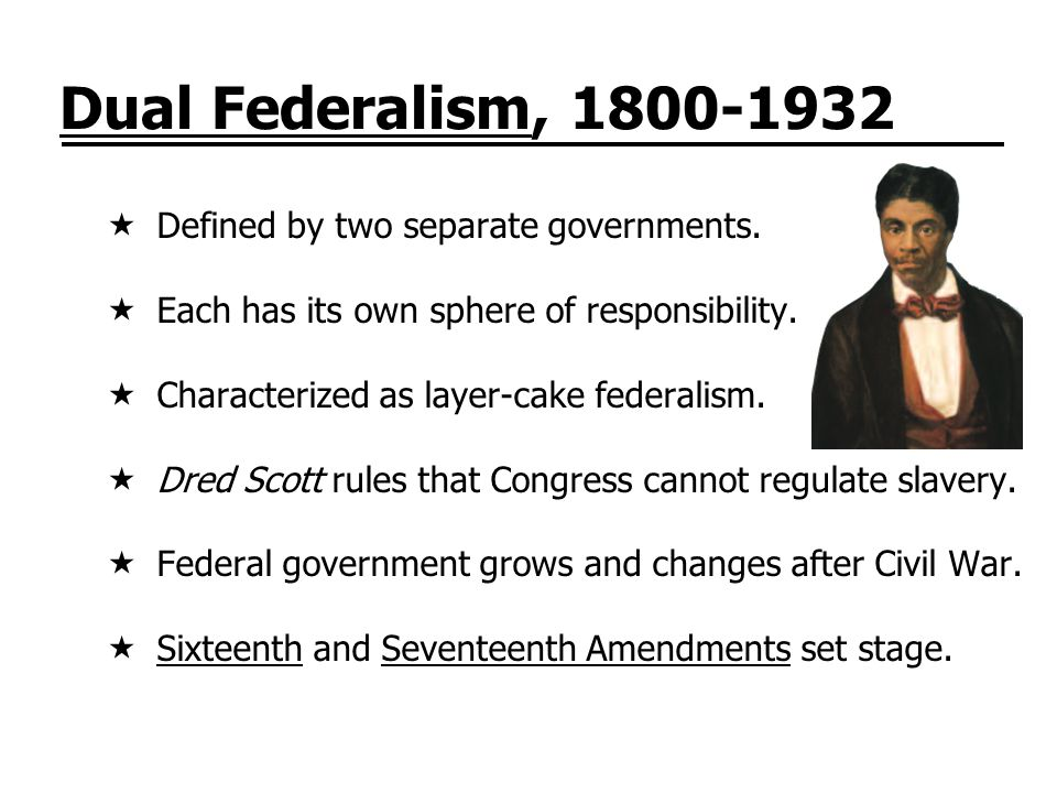 Dual Federalism, 1800-1932 Defined by two separate governments.