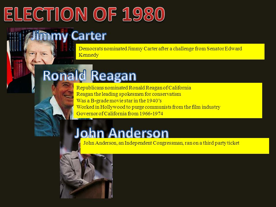 ELECTION OF 1980 Ronald Reagan John Anderson Jimmy Carter