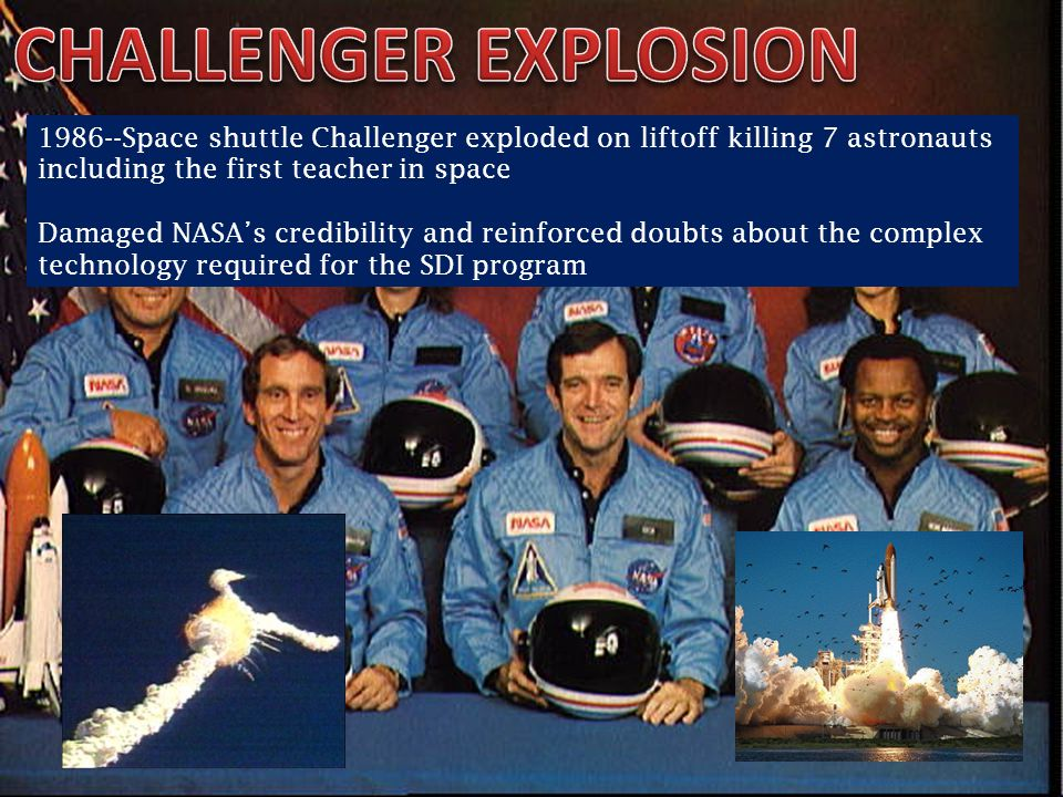 CHALLENGER EXPLOSION 1986--Space shuttle Challenger exploded on liftoff killing 7 astronauts including the first teacher in space.