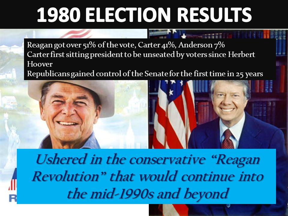 1980 ELECTION RESULTS Reagan got over 51% of the vote, Carter 41%, Anderson 7%