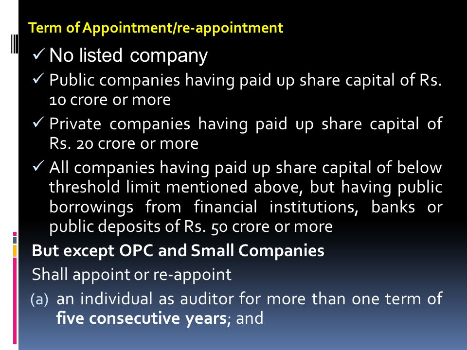 Term of Appointment/re-appointment