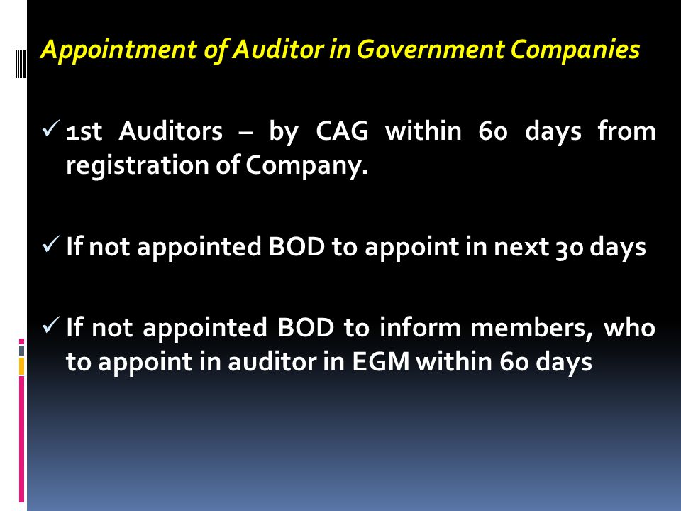 Appointment of Auditor in Government Companies
