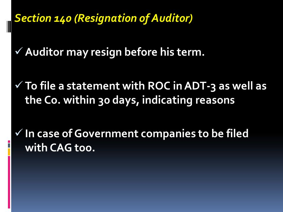 Section 140 (Resignation of Auditor)
