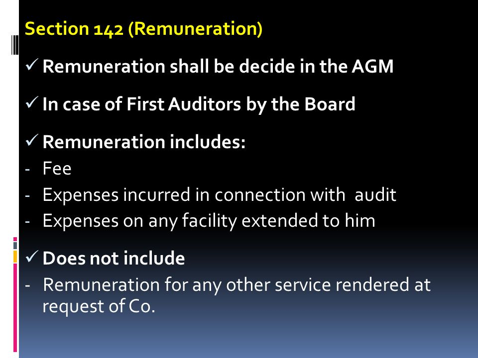 Section 142 (Remuneration)