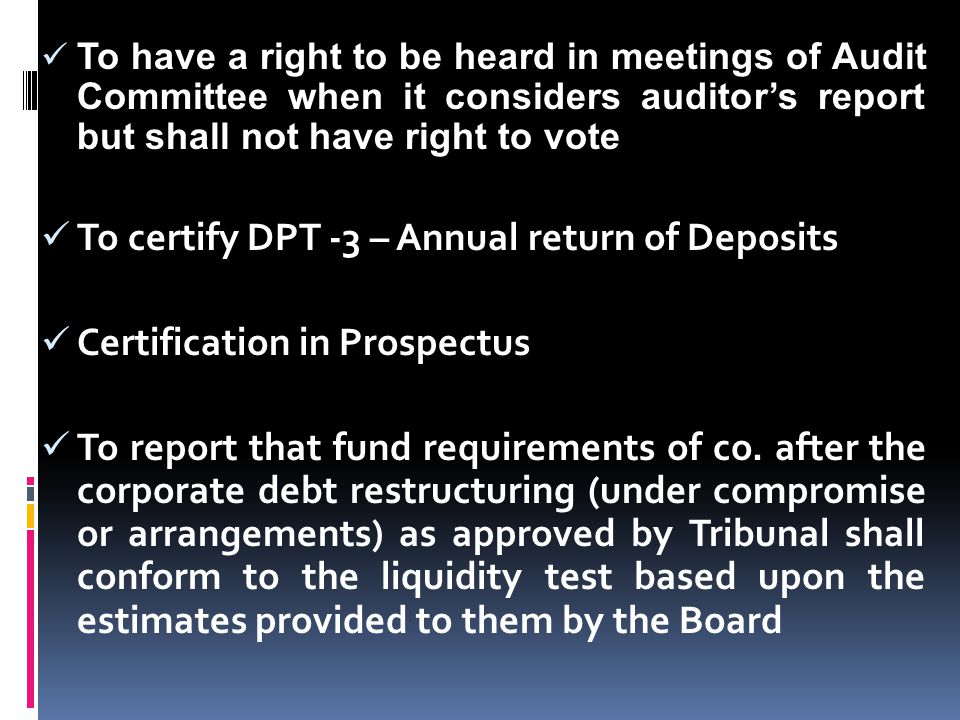 To certify DPT -3 – Annual return of Deposits