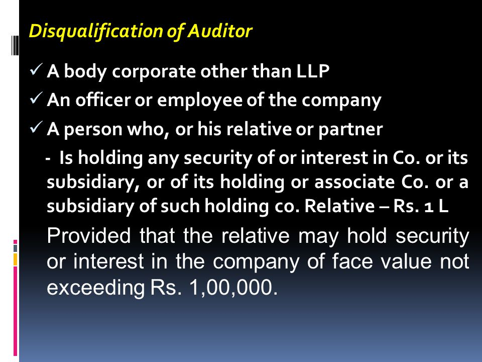 Disqualification of Auditor