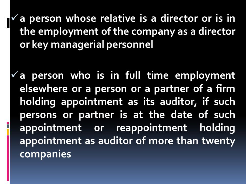 a person whose relative is a director or is in the employment of the company as a director or key managerial personnel