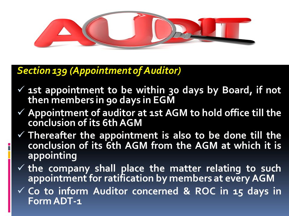 Section 139 (Appointment of Auditor)