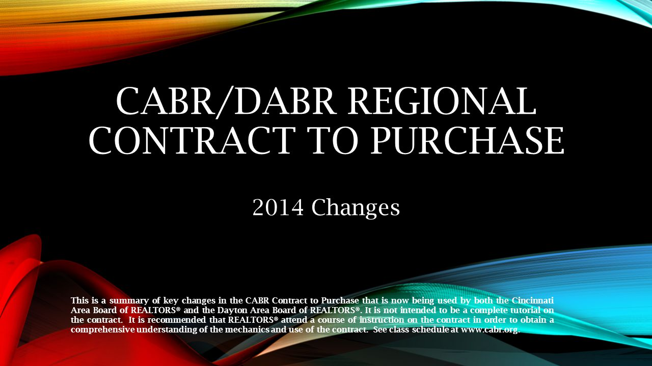 CABR/DABR REGIONAL Contract to Purchase