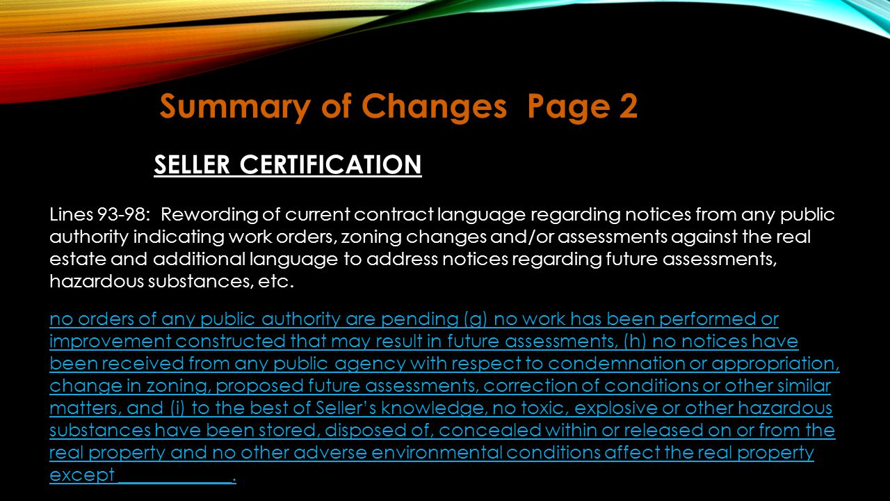 Summary of Changes Page 2