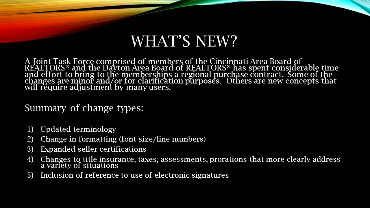 What's New Summary of change types: