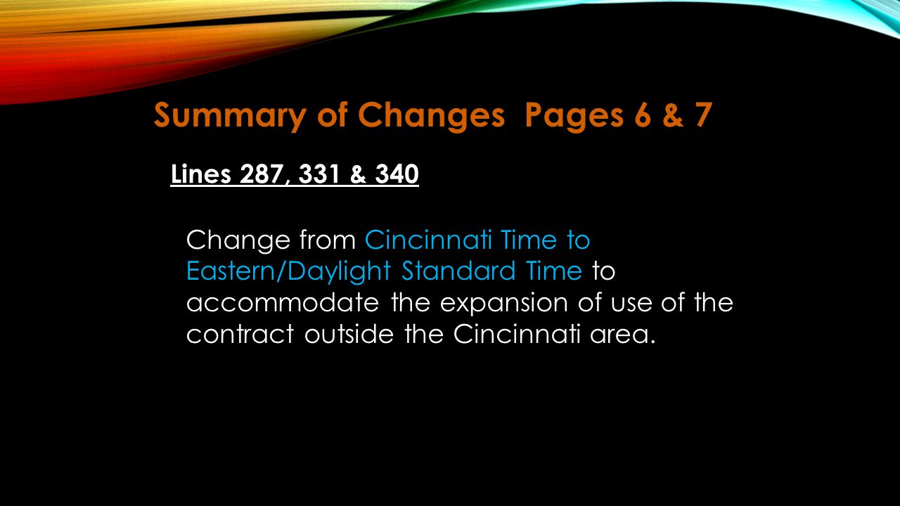 Summary of Changes Pages 6 & 7