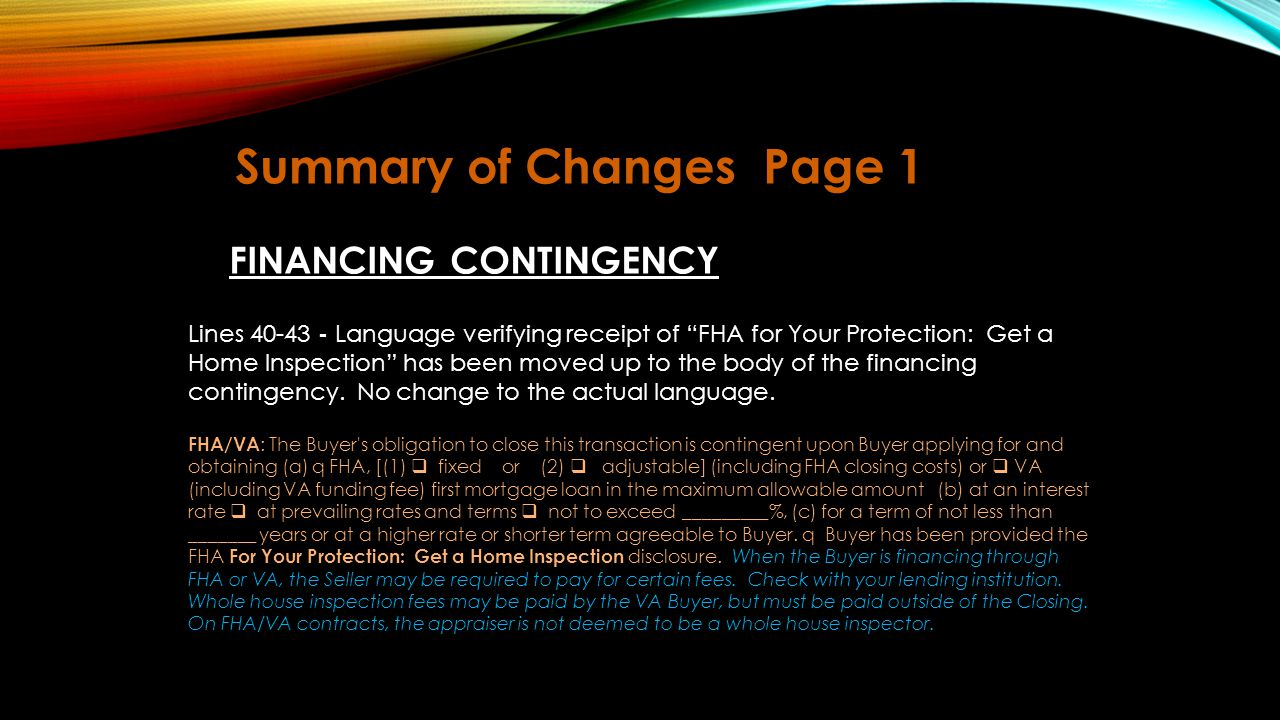 Summary of Changes Page 1