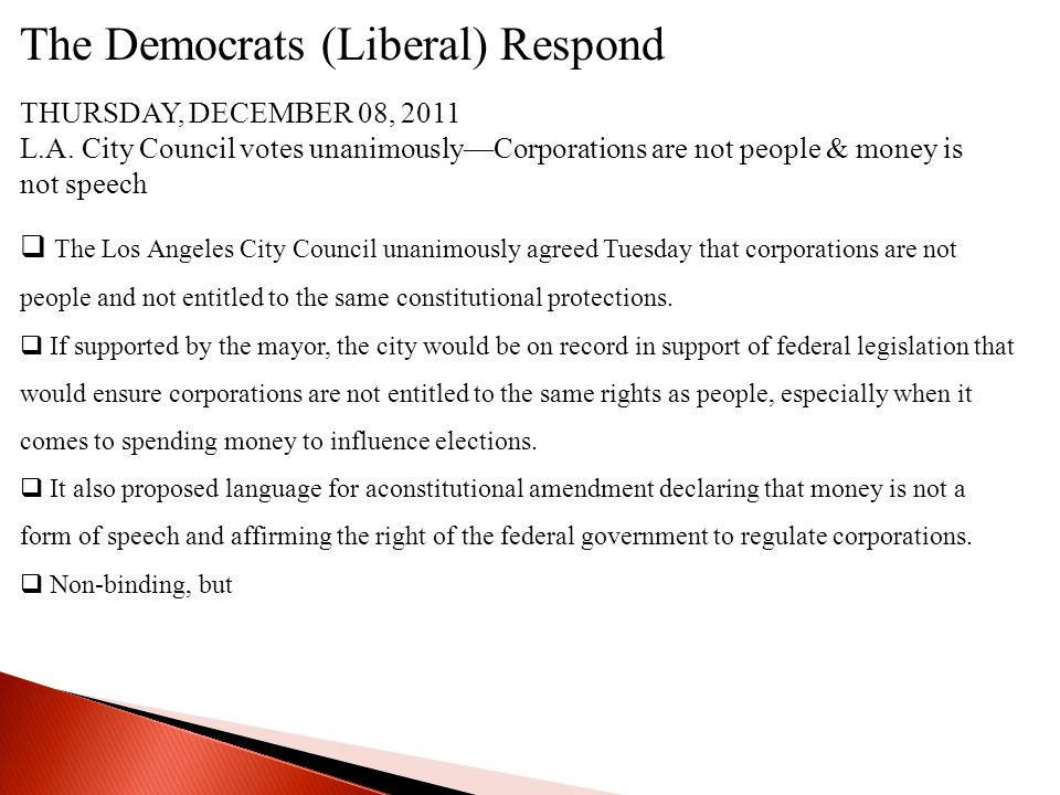 The Democrats (Liberal) Respond