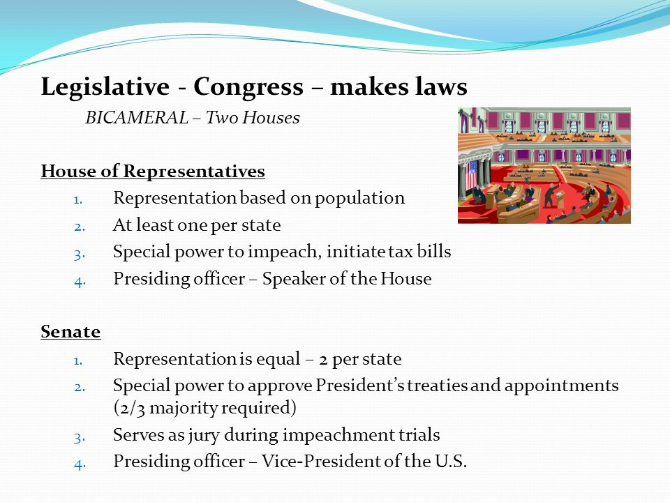 Legislative - Congress – makes laws