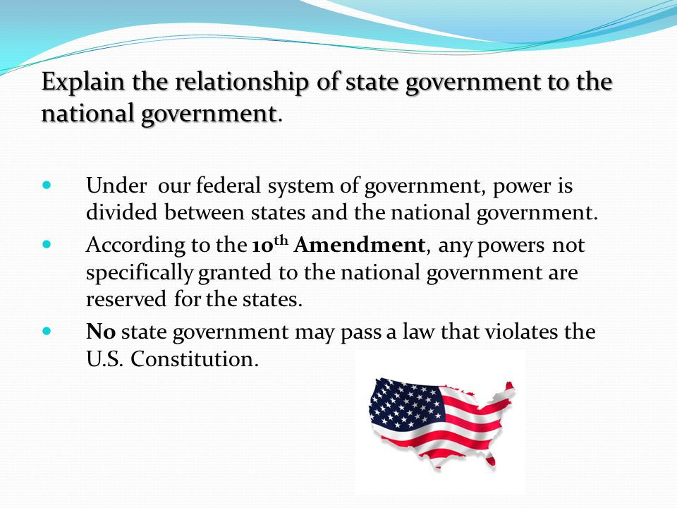 Explain the relationship of state government to the national government.