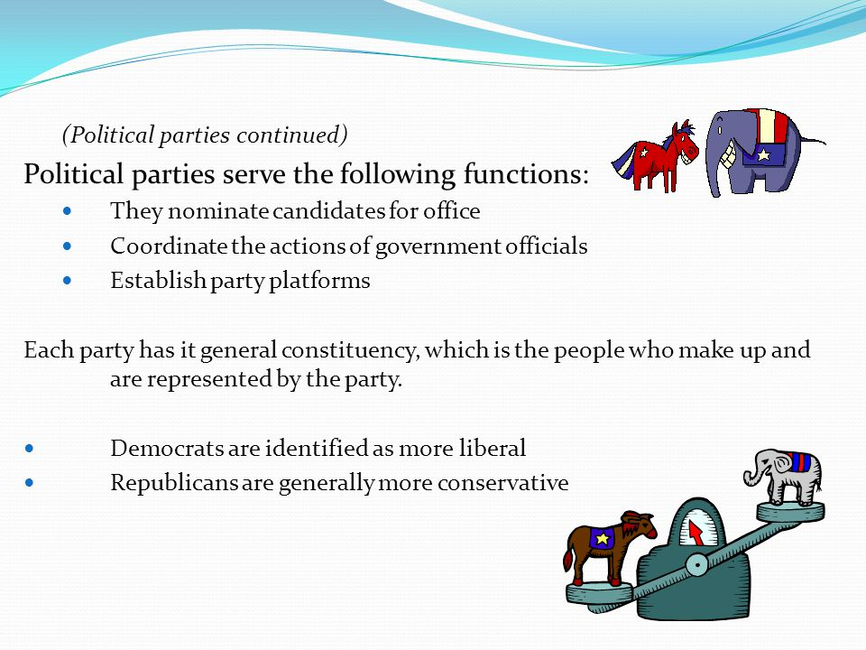 Political parties serve the following functions: