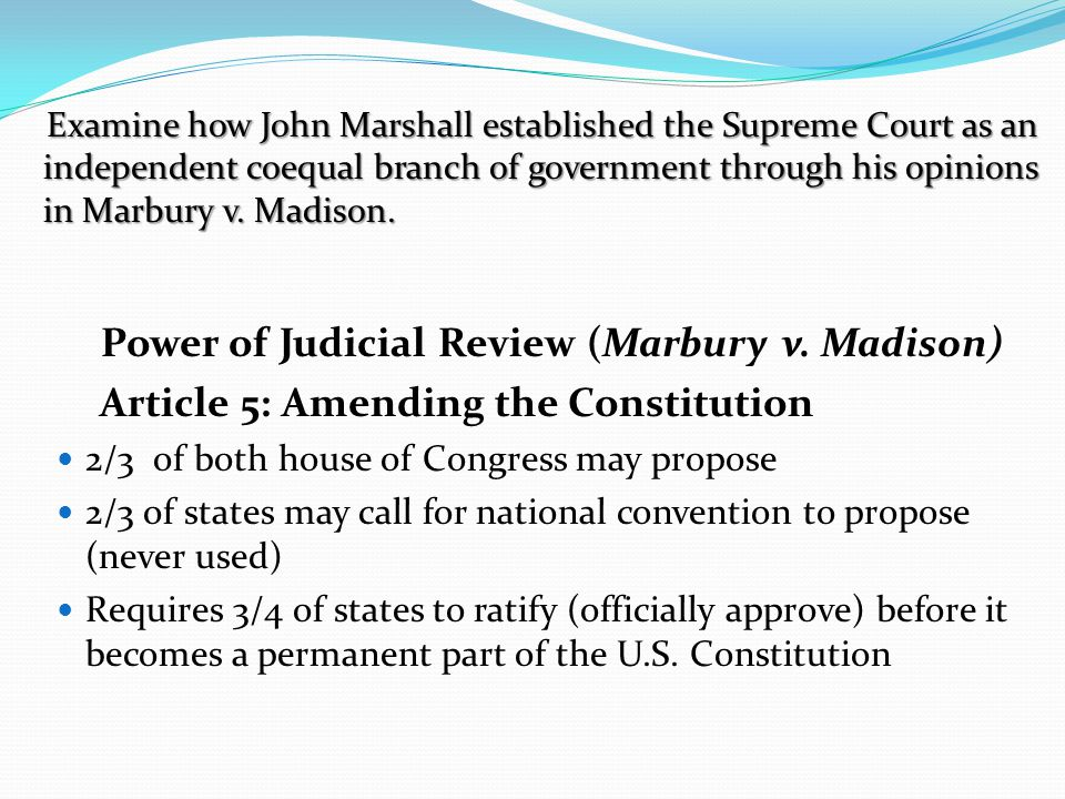 Power of Judicial Review (Marbury v. Madison)
