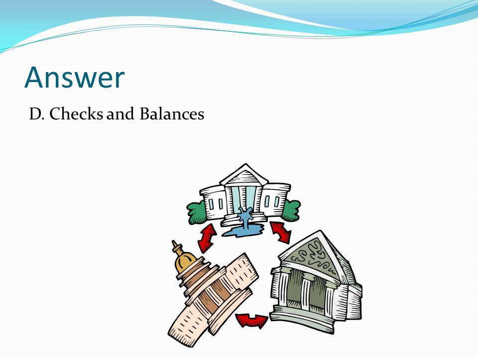 Answer D. Checks and Balances