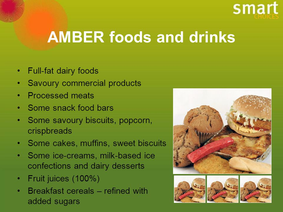 AMBER foods and drinks Full-fat dairy foods