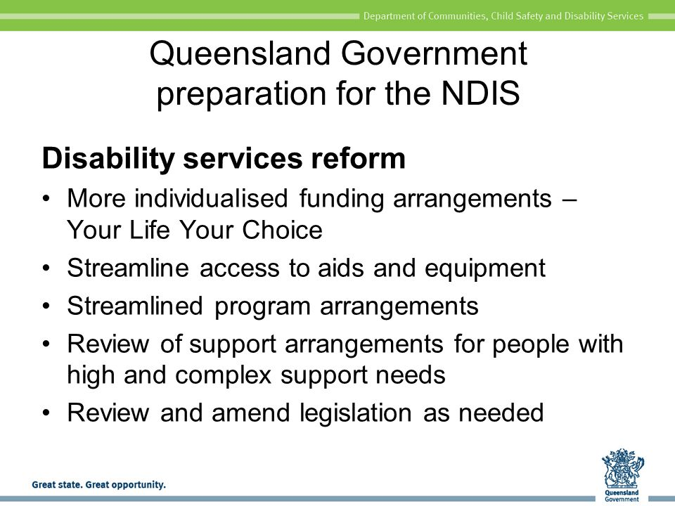 Queensland Government preparation for the NDIS