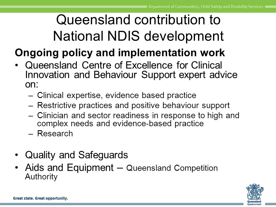 Queensland contribution to National NDIS development