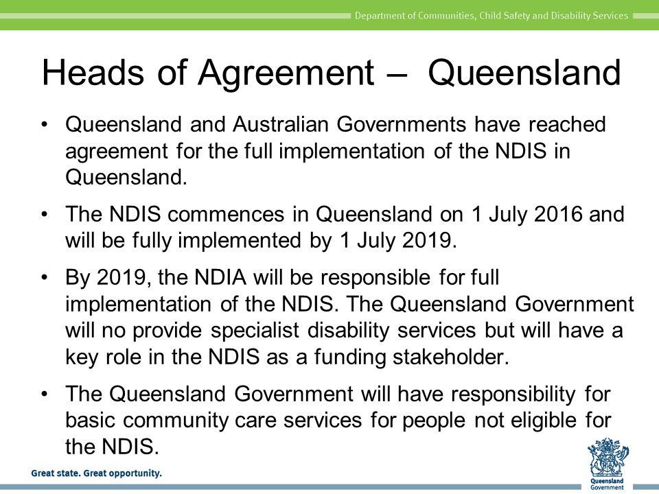 Heads of Agreement – Queensland