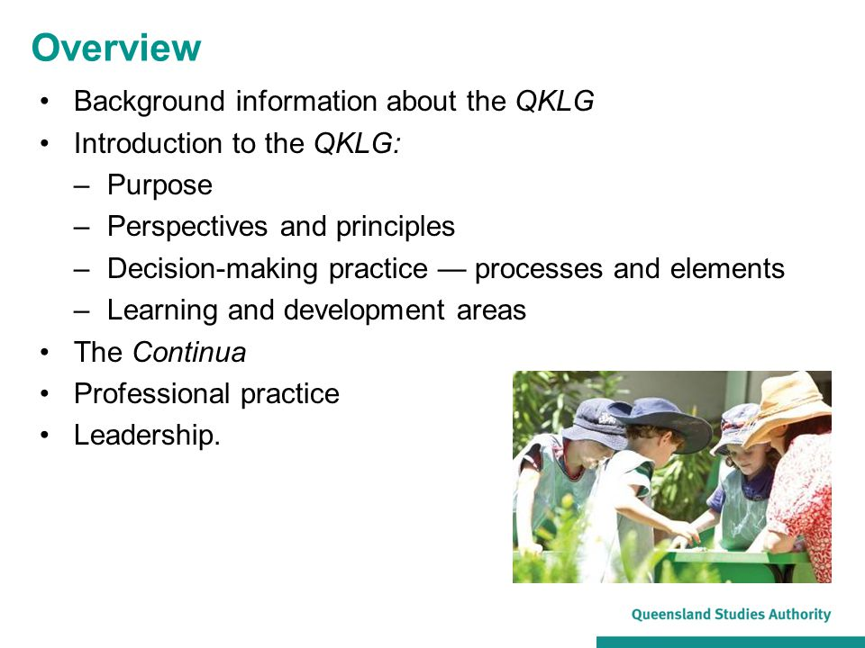 Overview Background information about the QKLG