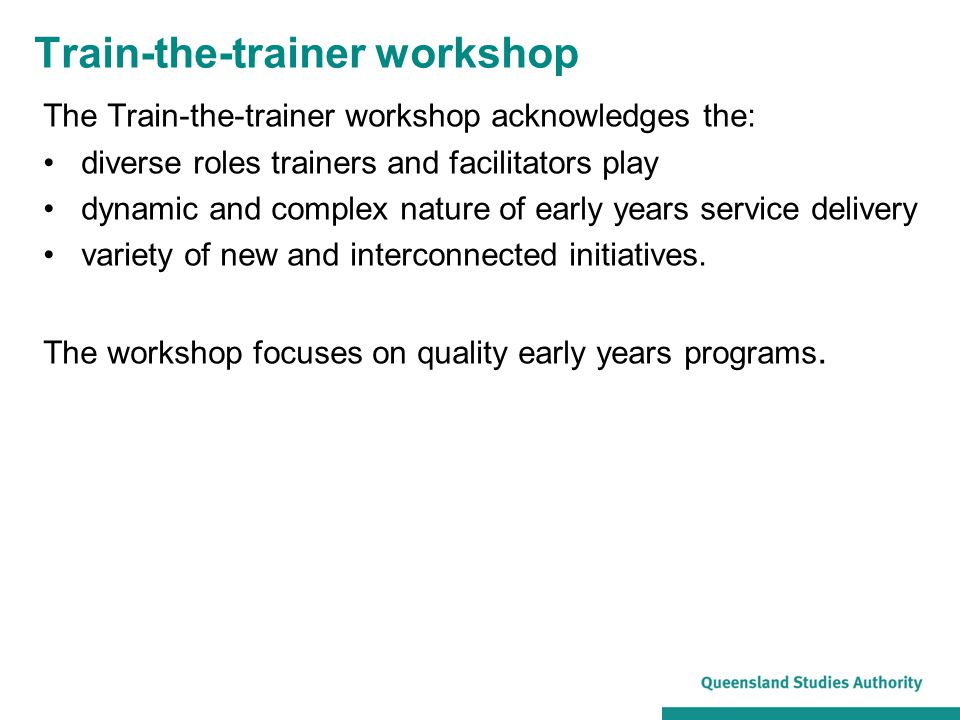 Train-the-trainer workshop