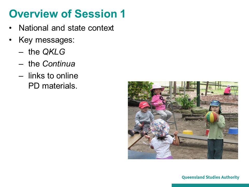 Overview of Session 1 National and state context Key messages: