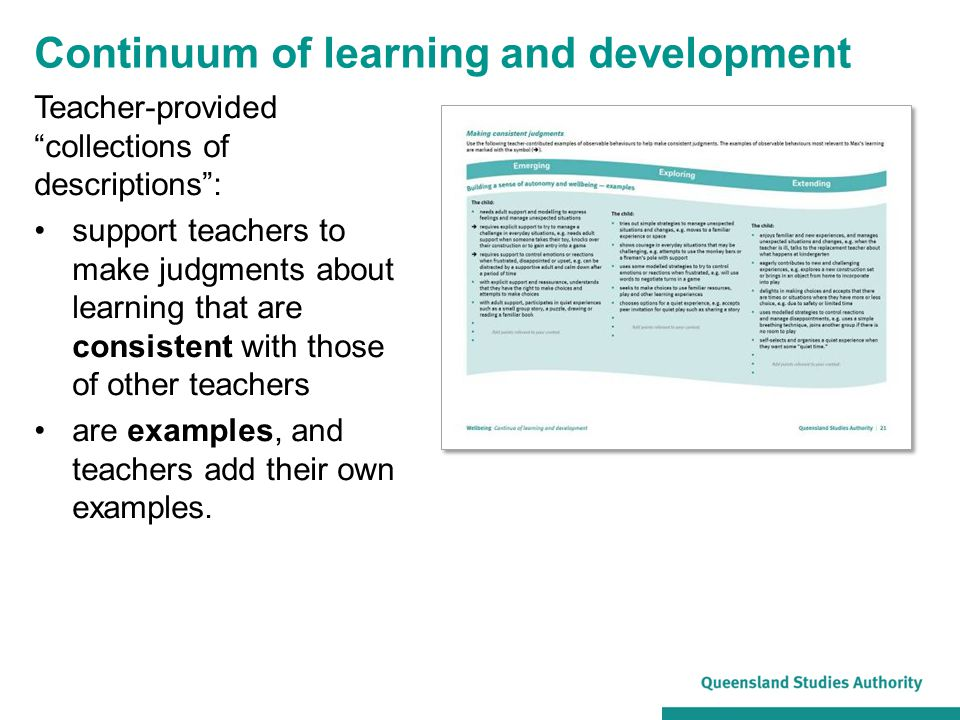 Continuum of learning and development