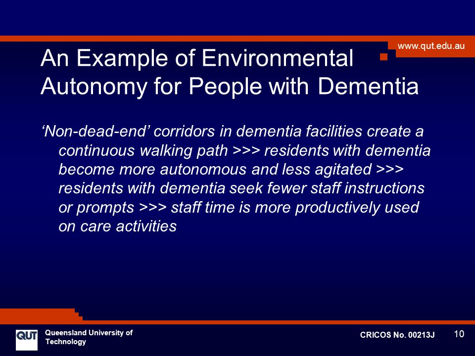An Example of Environmental Autonomy for People with Dementia