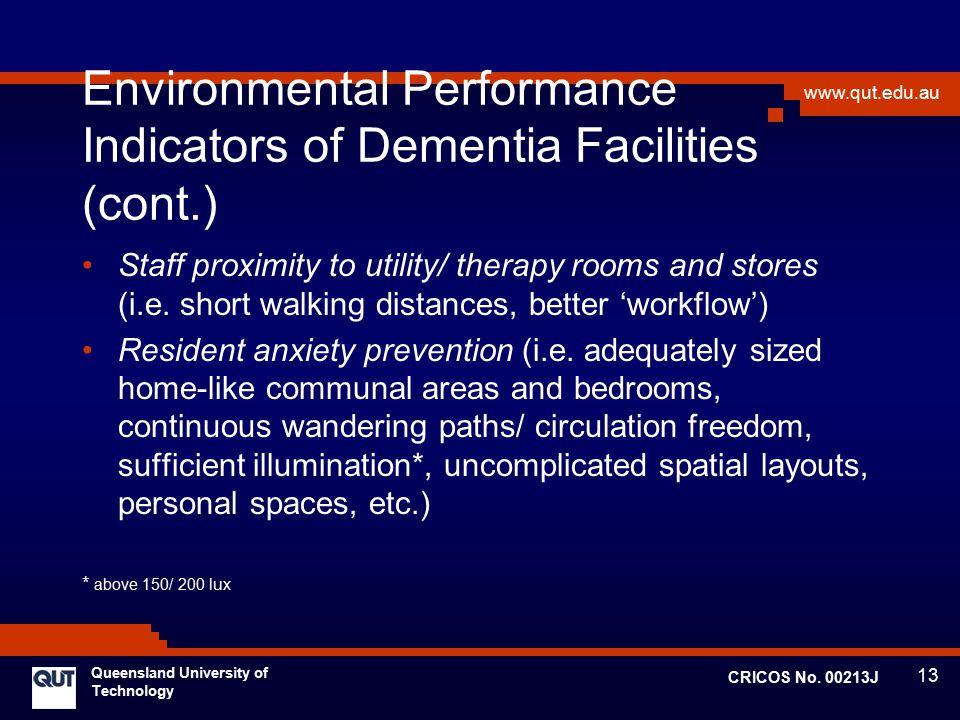 Environmental Performance Indicators of Dementia Facilities (cont.)