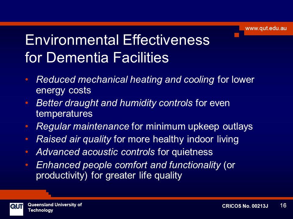 Environmental Effectiveness for Dementia Facilities