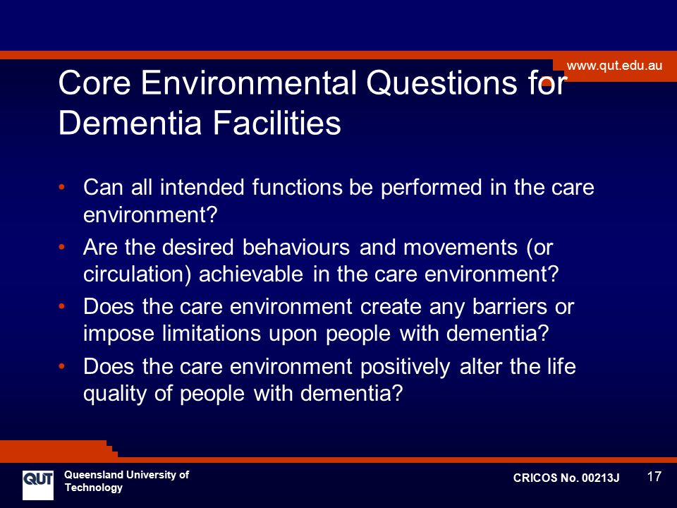 Core Environmental Questions for Dementia Facilities