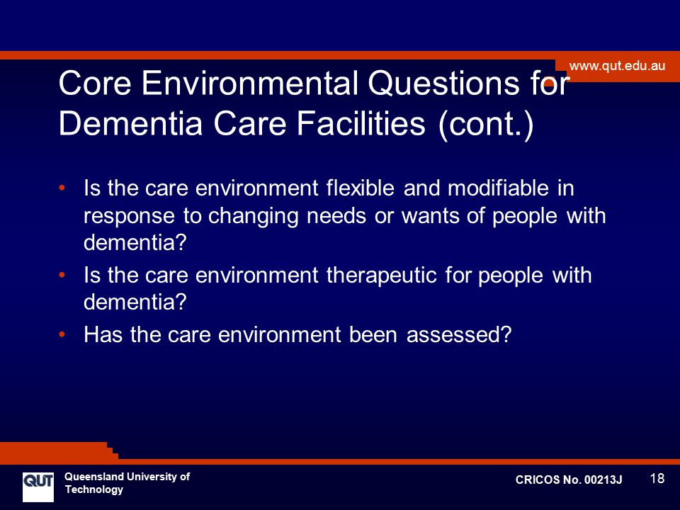 Core Environmental Questions for Dementia Care Facilities (cont.)