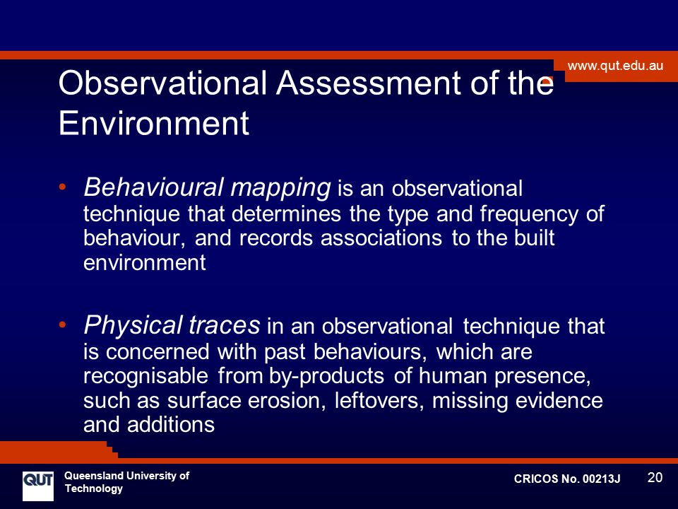 Observational Assessment of the Environment
