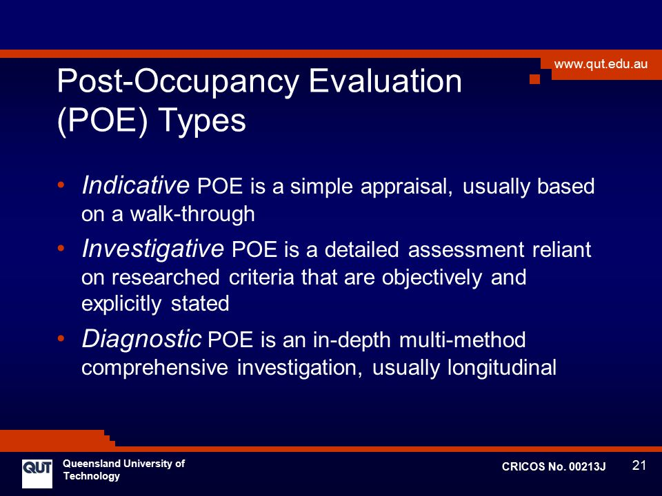Post-Occupancy Evaluation (POE) Types