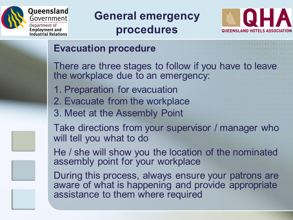 General emergency procedures